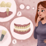 Cartoon of a woman deciding between dentures and dental implants.