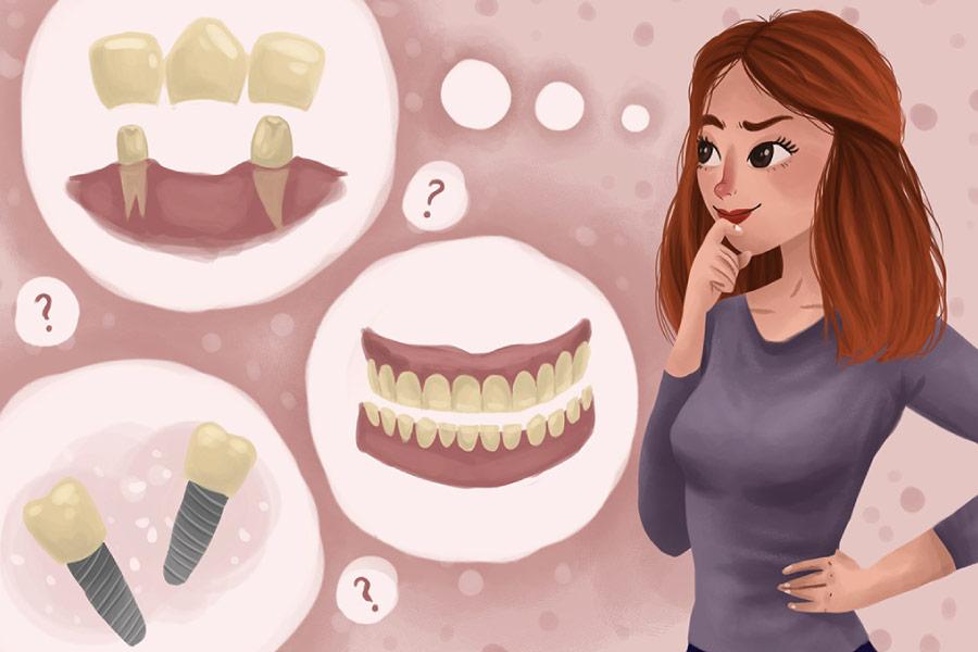 Cartoon of a woman deciding between dentures and dental implants.