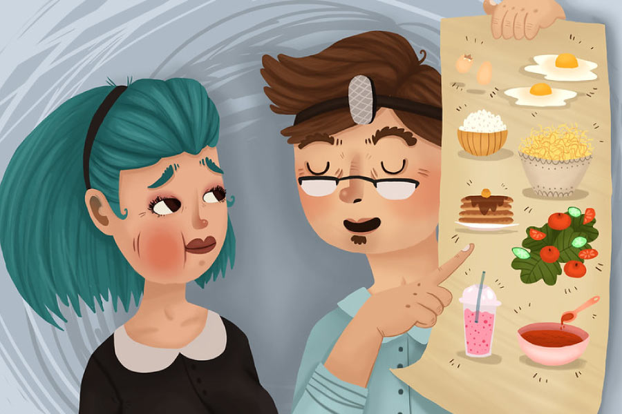 Cartoon poster of soft foods being shown to a patient with a recent tooth extraction.