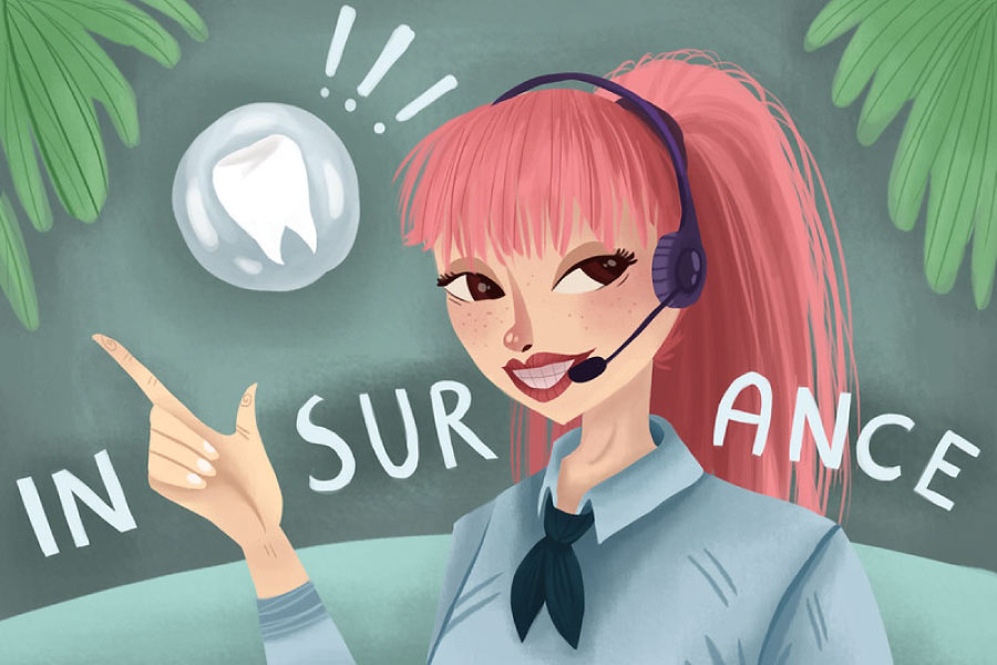Cartoon of a girl in the dental office wearing a headset to answer questions about dental insurance.