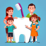Cartoon of a family standing next to an oversized tooth.